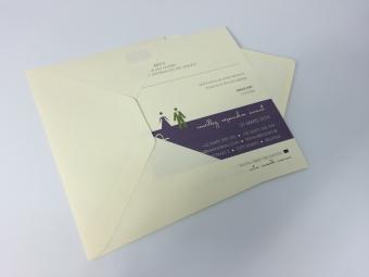 Trouwuitnodiging + omslag | kleurpapier 300gr